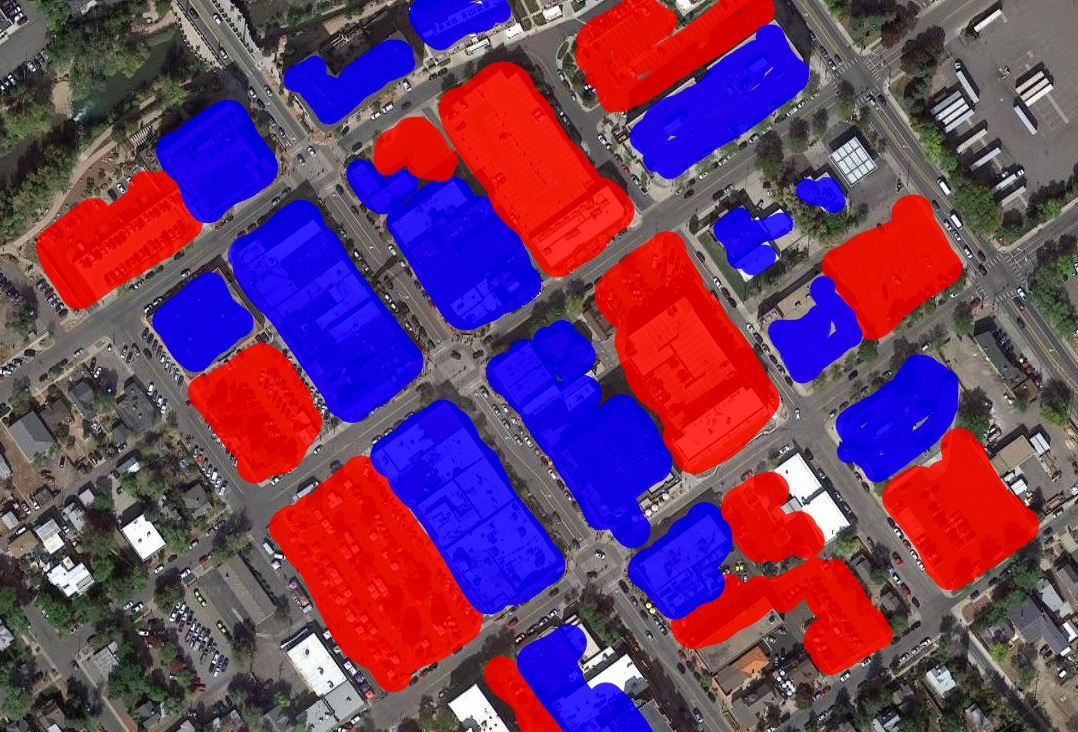 Red is parking, blue is building