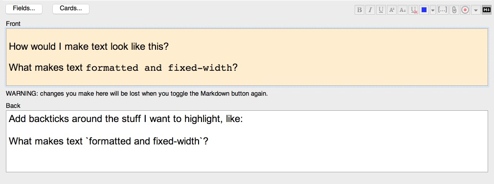 Anki card to learn some markdown